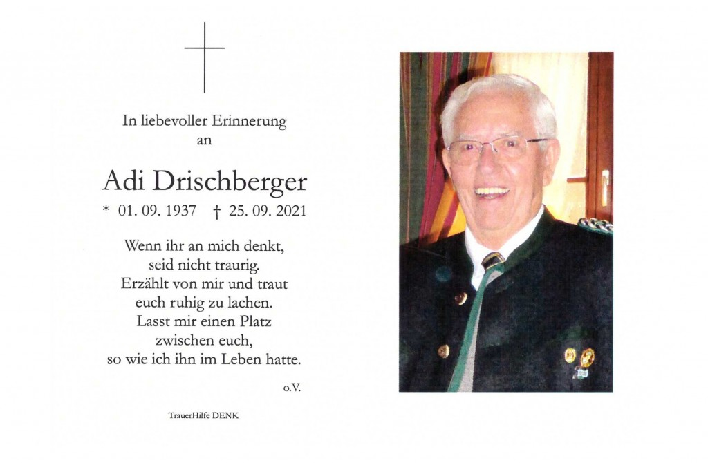 Sterbebild Adi Drischberger